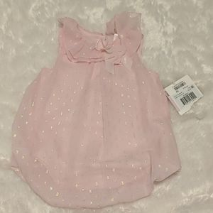 Pink shimmer ruffle romper with matching headband